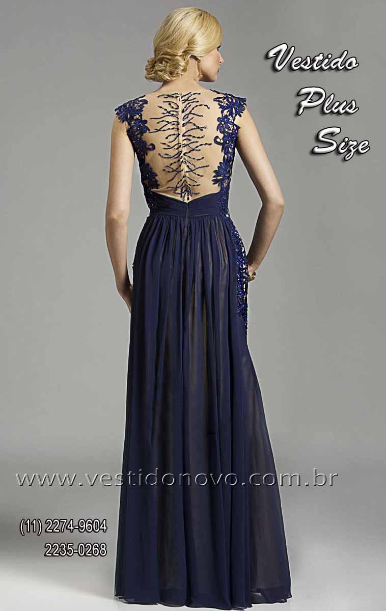 Comprar vestido de festa longo azul marinho